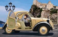 Italian Light Civilian Car Topolino (Open Top) With Lady And Dog